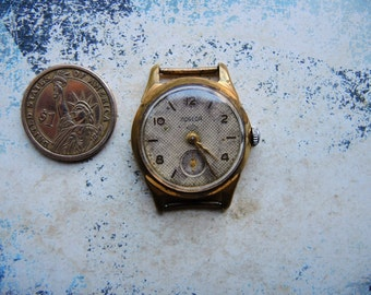 Rare Vintage Soviet Russian Mens Watch POBEDA / Gold Plated Au Watch Petrodvorets / collectible Mechanical watch / USSR / Soviet era 1960s