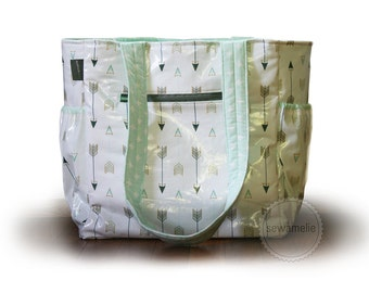 Sale: Ready to Ship  /  Large water resistant diaper bag  / oil cloth arrows bag