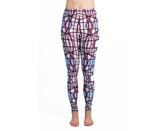 Leggings with blue and bordeaux red graphic print