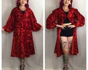 Vintage 1960's Crushed Red Velvet Coat