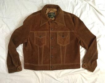 Vintage 1970's Men's Brown Suede Jacket