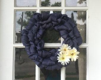 Dark Blue Burlap wreath