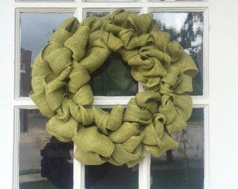 Light Green Burlap Wreath
