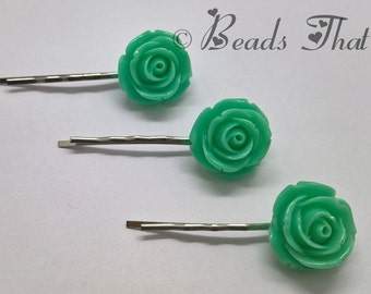 Mint Rose Flower Bobby Pins, Set of 3, Rose Bobby Pins, Hair Clips, Handmade Hair Accessories, Made in USA, Great Gift for any age!