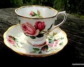 Royal Albert Anniversary Rose Fine Bone China Tea Cup and Saucer - Vintage  Rose Tea Cup - Hampton Shape