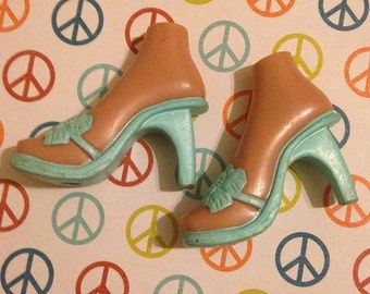 Replacement Bratz turquoise  heels shoes for upscale custom prop accessory