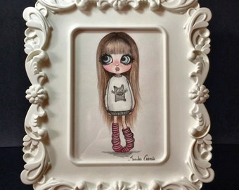 The little doll, original drawing with colored pencils, painting, doll..
