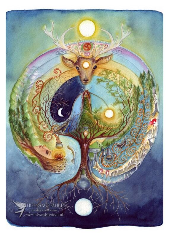 Hirsch Medizin A4 Print/Celtic/Labyrinth/Ceridwen/schamanische Reise/Elen der Möglichkeiten/Fährmann/World Tree/Deer Göttin/Crow/Mond/walisischen Göttin