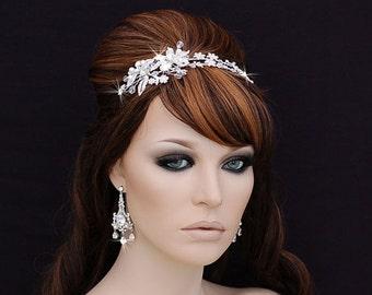 SALE - Crystal Headband , Bridal Headpiece , Bridal Hair Accessory , Wedding Headband , Swarovski Crystal Bachelorette Headband