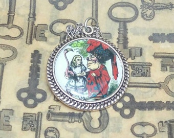 Want to play croquet? Vintage inspired Alice in Wonderland pendant necklace