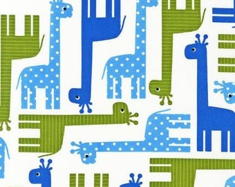 Giraffe Fabric - Urban Zoologie by Ann Kelle - Robert Kaufman. Blue and Green Giraffes. 100% cotton. AAK-13955-4