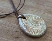 Teardrop Ancient Stone Grey Mandala Essential Oil Diffuser Necklace, Ceramic Aromatherapy Pendant, Wholesale and Bulk Diffuser Jewelry