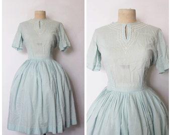 SALE || Vintage 1950s Dress | 50s Full Skirt Polka Dot Dress | Pale Blue Keyhole Dress | 50s Robins Egg Blue Polka Dots Dress | L