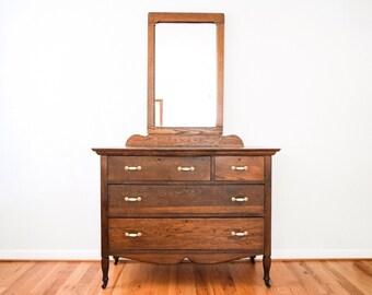 antique dresser, wood dresser, bedroom dresser, antique oak mission 5 drawer wooden dresser with mirror, bedroom furniture, vintage