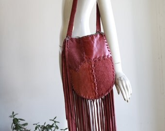 Vintage suede  fringe shoulder bag 70s 60s hippie