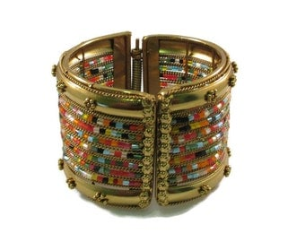 Wide Colorful Beaded and Brass Tone Bangle