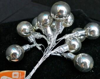Silver Mercury Glass Christmas Ball Clusters on Wire,Vintage Glass Christmas Balls, 3/4Inch Bulbs,Vintage Craft Supplies,Mercury Glass Spray