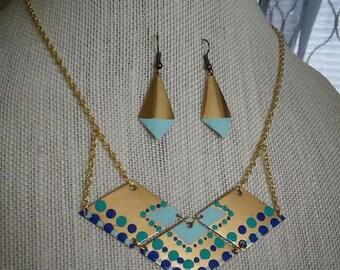 Hand Painted Brass Geometric Bib Necklace