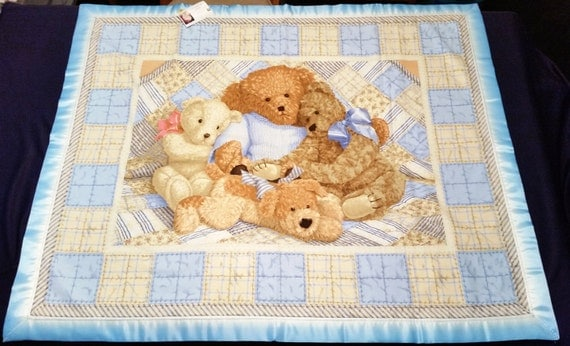 36 x 44 Blue Teddy Bear Baby Blanket by CandLTreasures on Etsy