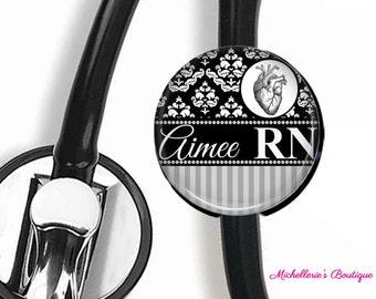 Heart Stethoscope ID tag, Monogram Heart Stethoscope Id Tag, Personalized Heart Stethoscope Id tag, Name Stethoscope Tag, Damask Black Gray