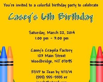 Crayon Box, Crayons, Coloring, Invitations, Printable, DIY