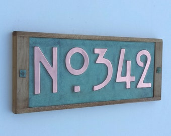 "Mission Mackintosh Custom House plaque,3""/75 or 4""/100mm,  copper with oak frame, 3 x numbers o"