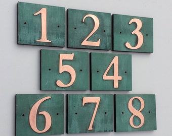"Traditional house number on plywood back, 3""/75mm, 4""/100 mm, with real patina, screws hidden under tabs g"