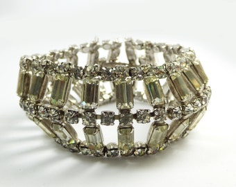 Vintage Baguette Clear Rhinestone Rhodium Plated Bracelet