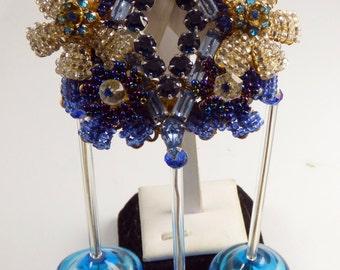 Stanley Hagler Blue Glass Bead and Rhinestone Hand Blown Glass Massive Pin Brooch