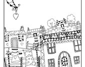 quirky houses coloring pages - photo#1