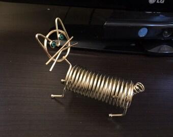 Vintage Gold Tone Metal Spiral Cat Mail Letter Rack Holder