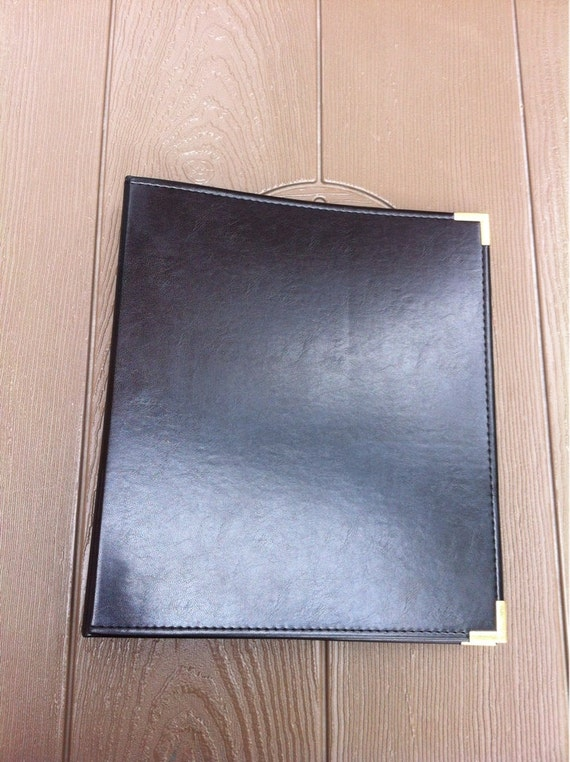 Faux Leather 3 Ring Binder Black Folder Samsill With Brass