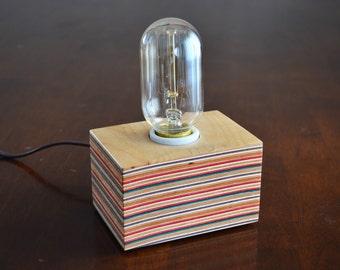 Edison Bulb Lamp Made from Repurposed Skateboards