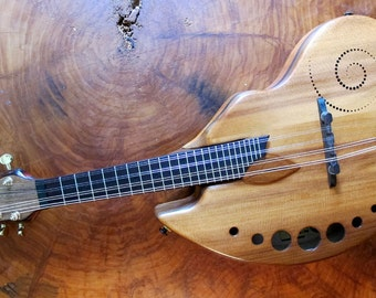 Fibonacci shaped Mandolin. Acoustic musical instrument.