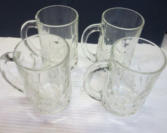 Two Vintage Clear Heavy Glass Thumbprint Pattern Beer / Root Beer Mugs