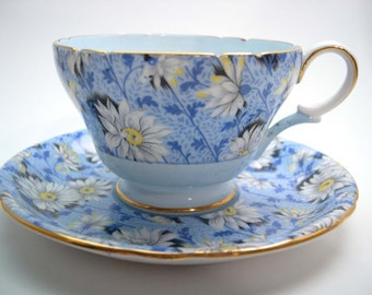 Blue SHELLEY Chintz Tea Cup And Saucer, Shelley Chintz Daisies tea cup and saucer.