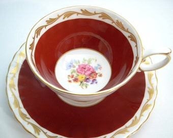 Antique Susie Cooper Tea cup and saucer set,  Maroon red and gold tea cup set, Floral Tea cup And Saucer