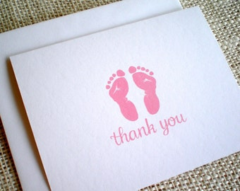 Set of 10 Baby Thank You Cards - Hand Drawn Pink or Purple Baby Girl Footprints Baby Shower Thank You Cards w/ Envelopes - Choice of Color