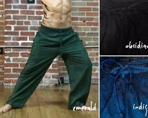 Men's Yoga Pants, Women's Yoga Pants   Comfy Elastic Stretchy Samurai Pants in Blue, Black + Green