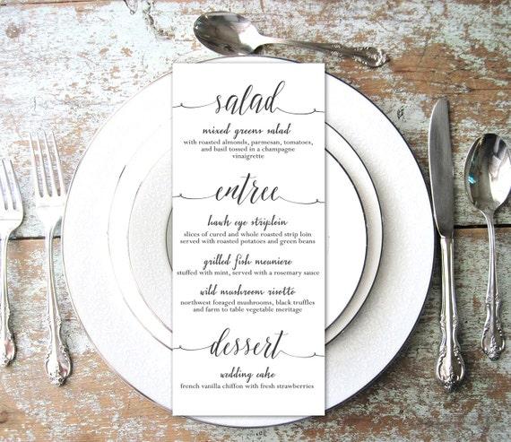 Wedding menu printable script table menu card customized for Table 9 menu