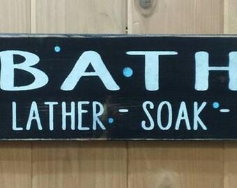 BATH, Bathroom Sign, Bathroom Decor, Home Decor, Wood Sign, Bath Sign, Unique, Rustic, Rustic Sign, Bath Decor, Friend, Gift Idea, Wall Art