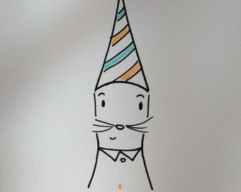 Cute Happy Birthday Cat Card