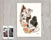 Pet Portrait, DOUBLE, pet art, bespoke pet art, pet illustration, cat artwork, portrait, picture, cat, pigeon, dog, drawing