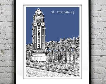 St Petersburg Florida Skyline Poster Art Print FL Version 4