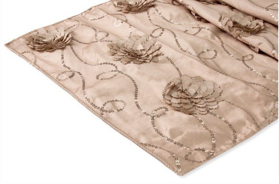 New champagne taffeta table runner with flower sequins for 102 table runners