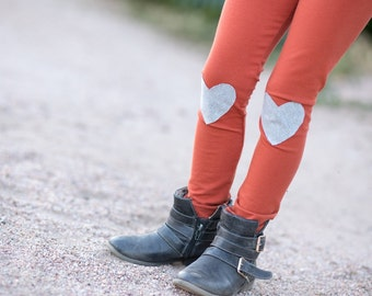 Rust Legging with Gray Hearts Knee Patch Kids Leggings..Girls Leggings.Baby leggings..Childrens Leggings.Kids & baby..Leggings..Toddler SZ N