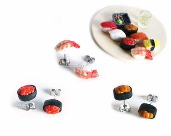 Sushi Studs, Mix Match Earrings, Prawn Shrimp Sushi, Salmon Roe Sushi, Sea Urchin, Small Stud Earrings, Sushi Jewelry,Food Earrings,
