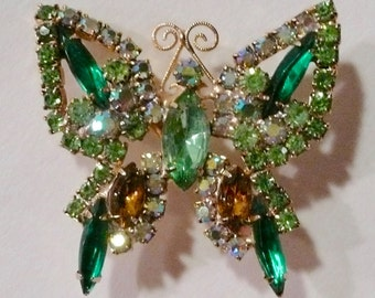 Vintage Green Prong Set Butterfly Rhinestone Brooch