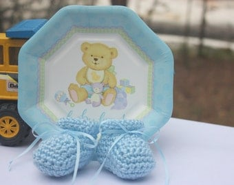 Blue Baby Boy Booties - Crocheted Newborn Baby Booties With Ribbon Ties