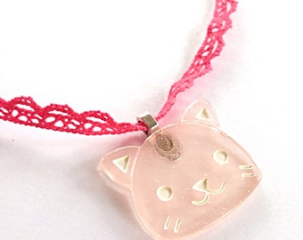 Pink kitty necklace, pink ribbon necklace